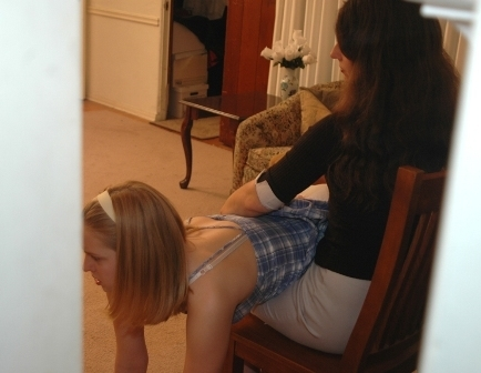 peeking at a spanking